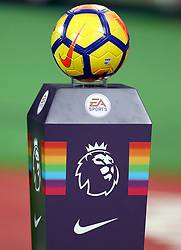 A general view of a Nike match ball on a Rainbow coloured plinth