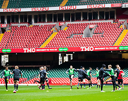 Wales pleyers during the captains run<br /> <br /> Photographer Simon King/Replay Images<br /> <br /> Six Nations Round 3 - Captains Run - Wales v England - Saturday 22nd February 2019 - Principality Stadium - Cardiff<br /> <br /> World Copyright © Replay Images . All rights reserved. info@replayimages.co.uk - http://replayimages.co.uk