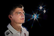 Owen Farrell of England looks on in a photoshoot after training at Pennyhill Park, Bagshot, Surrey on the 8th February 2013. (Photo by Andrew Tobin www.slikimages.com)