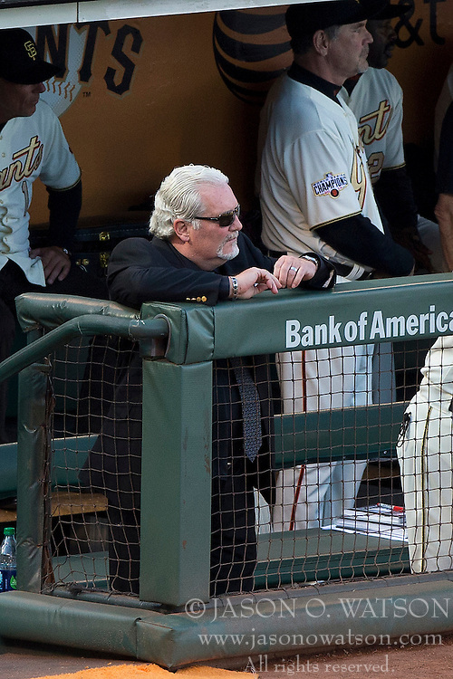 SAN FRANCISCO, CA - APRIL 18:  Brian Sabean of the San Francisco Giants stands in the dugout during the 2014 World Series ring ceremony before the game against the Arizona Diamondbacks at AT&T Park on April 18, 2015 in San Francisco, California.  The San Francisco Giants defeated the Arizona Diamondbacks 4-1. (Photo by Jason O. Watson/Getty Images) *** Local Caption *** Brian Sabean