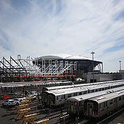 2017 U.S. Open - AUGUST 23.  A view from the Corona train yard in Flushing, Queens, New York of The Arthur Ashe Stadium with construction of the new 14,000-seat Louis Armstrong Stadium next to it which will open for the 2018 US Open. The US Open Tennis Tournament at the USTA Billie Jean King National Tennis Center on August 23, 2017 in Flushing, Queens, New York City.  (Photo by Tim Clayton/Corbis via Getty Images)