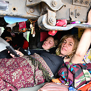 Activists glue their hand at the bottom of a  truck at Waterloo Bridge in demand the UK Govt to act of Climate Change by 2025 on 18 April 2019, London, UK.