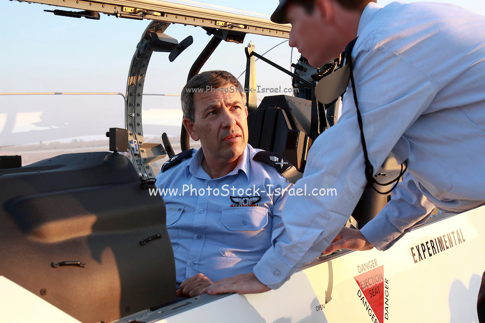 General Ido Nehoshtan Commander in Chief of the Israeli Air Force in a Flight Academy Beechcraft T-6A Texan II