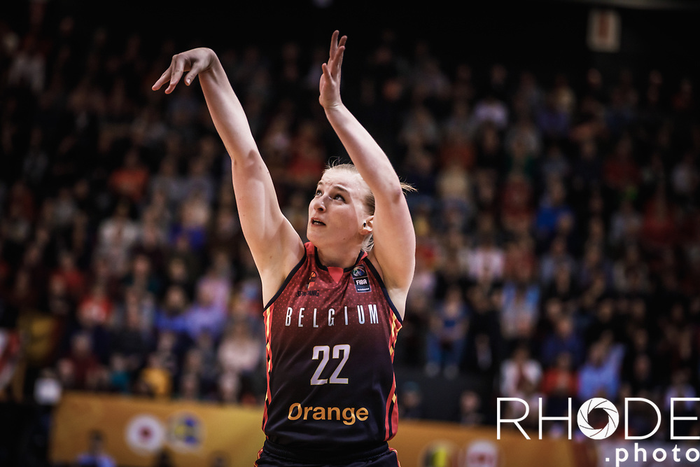 Hanne Mestdagh (BEL)<br /> <br /> Day 1 – CANADA (CAN) vs BELGIUM (BEL): 61-56<br /> <br /> FIBA Women's Olympic Qualifying Tournament 2020 – Ostend,  Belgium<br /> Ostend Versluys Dôme (BEL)<br /> <br /> ©RhodePhotoMedia