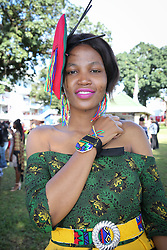 07062018 (Durban)Thando Nkala showing off time piece in style the adrenaline of Vodacom Durban July flowing like water among the massive crowd expected at Greyville Racecourse in Durban for the running of the R4.25 million, Grade 1, Vodacom Durban July, the greatest racing, fashion and entertainment extravaganza on the African continent.<br /> Picture: Motshwari Mofokeng/African News Agency/ANA