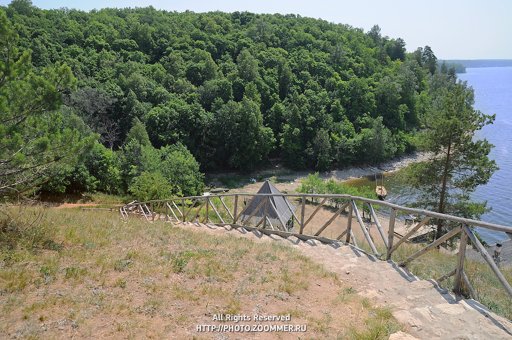 """Descent to the water reservoir in the old Russian village. Situated in Russian National Park """"Samara Luka""""."""