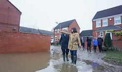 © Licensed to London News Pictures. 9/11/2019. Doncaster, UK. A Labour leader Jeremy Corbyn and and Labour MP Caroline Flint visit areas affected by flooding in Dufton Close Conisborough .Within 24 hours , floods have affected many parts of Northern England , with damage corresponding to a month of heavy rainfall.Photo credit: Ioannis Alexopoulos/LNP