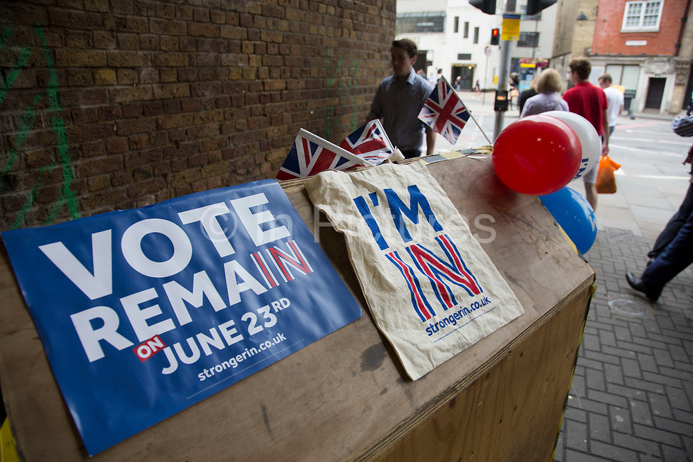 Vote remain promotion on polling day for the EU European referendum as commuters coming and going outside London Bridge Station in London, England, United Kingdom.