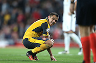 Alexis Sanchez of Arsenal reacts  after missing another chance to score. UEFA Champions league group A match, Arsenal v FC Basel at the Emirates Stadium in London on Wednesday 28th September 2016.<br /> pic by John Patrick Fletcher, Andrew Orchard sports photography.