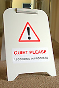 "The ""Quiet Please"" sign that is put out while prisoners carry out filming in the PRIME media house at HMP Downview"