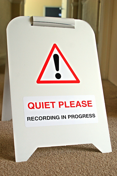 """The """"Quiet Please"""" sign that is put out while prisoners carry out filming in the PRIME media house at HMP Downview"""