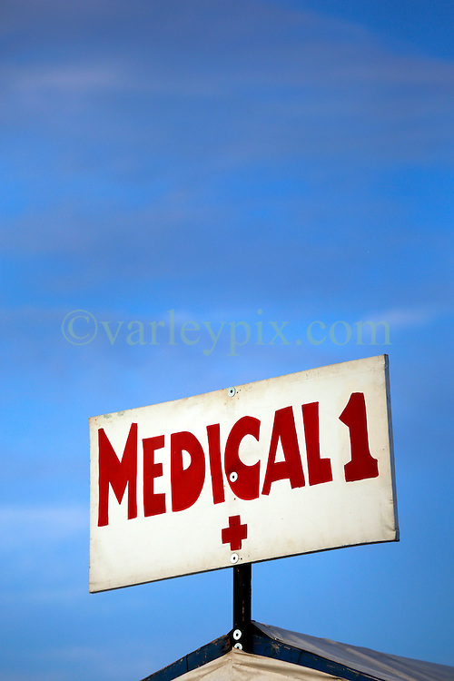 27 April 2013. New Orleans, Louisiana,  USA. .New Orleans Jazz and Heritage Festival.The sign for the medical tent..Photo; Charlie Varley.