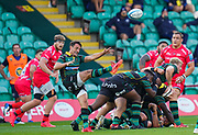 Northampton Saints scrum-half Alex Mitchell clears the ball during the Gallagher Premiership Rugby match Northampton Saints -V- Sale Sharks at Franklin's Gardens, Northamptonshire ,England United Kingdom, Tuesday, September 29, 2020. (Steve Flynn/Image of Sport)