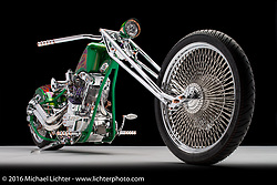"""""""Spitball Magoo"""", a green digger built from a shovelhead by Wayne Burgess of Ontario, Canada. Photographed by Michael Lichter during the Easyriders Bike Show in Columbus, OH on February 20, 2016. ©2016 Michael Lichter."""