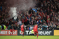 December 9, 2017 - Toronto, Ontario, Canada - Toronto FC defender JUSTIN MORROW (2) and Toronto FC midfielder BENOIT CHEYROU (8) celebrate the second goal of the game during the MLS Cup championship match at BMO Field in Toronto, Canada.  Toronto FC defeats Seattle Sounders 2 to 0. (Credit Image: © Mark Smith via ZUMA Wire)