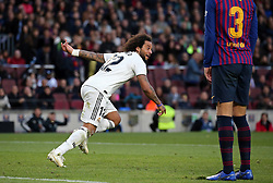 October 28, 2018 - Barcelona, Catalonia, Spain - Marcelo Vieira goal celebration  during the match between FC Barcelona and Real Madrid CF, corresponding to the week 10 of the Liga Santander, played at the Camp Nou, on 28th October 2018, in Barcelona, Spain. (Credit Image: © Joan Valls/NurPhoto via ZUMA Press)