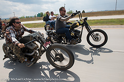 Brad Gregory, Aaron Greene and Bobby Seeger on Aidan's Ride to raise money for the Aiden Jack Seeger nonprofit foundation to help raise awareness and find a cure for ALD (Adrenoleukodystrophy) during the annual Sturgis Black Hills Motorcycle Rally. I-90 between Rapid City and Sturgis, SD, USA. Tuesday August 8, 2017. Photography ©2017 Michael Lichter.