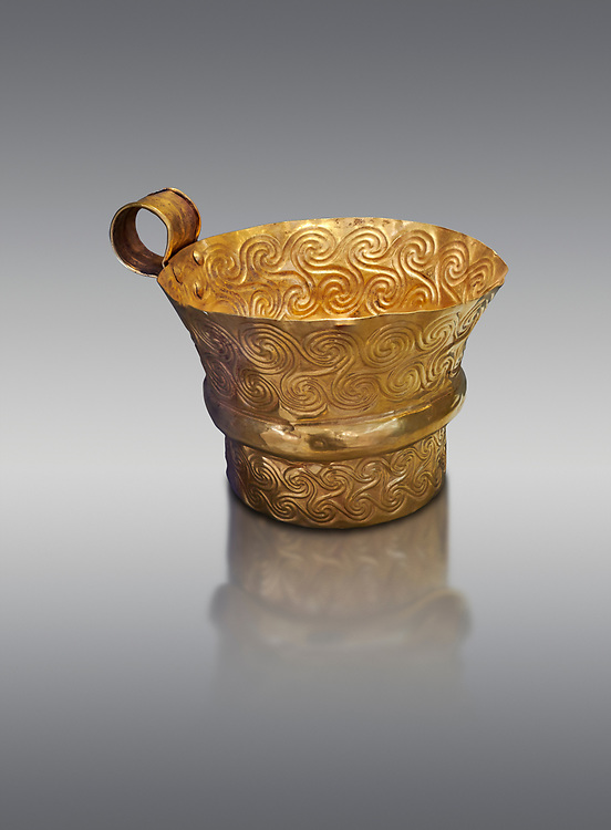 Mycenaean gold cup with spiral decorations, Grave V, Grave Circle A,  Mycenae, Greece. National Archaeological Museum of Athens.  Grey Background<br /> <br /> <br /> An elegant precious gold cup hammered from thick gold to created a simple elegant design. This Mycenaean gold cup demonstrates how advance Mycenaean metalworking was in the 16th century BC. The value of the cup would have been extermely high so must have graced the table of a Mycenaean noble perhaps even a v king. .<br /> <br /> If you prefer to buy from our ALAMY PHOTO LIBRARY  Collection visit : https://www.alamy.com/portfolio/paul-williams-funkystock/mycenaean-art-artefacts.html . Type -   Athens    - into the LOWER SEARCH WITHIN GALLERY box. Refine search by adding background colour, place, museum etc<br /> <br /> Visit our MYCENAEN ART PHOTO COLLECTIONS for more photos to download  as wall art prints https://funkystock.photoshelter.com/gallery-collection/Pictures-Images-of-Ancient-Mycenaean-Art-Artefacts-Archaeology-Sites/C0000xRC5WLQcbhQ