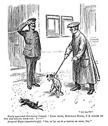 """Newly-appointed territorial colonel. """"Look here, sergeant-major, I'm afraid my dog has killed your cat. I——"""" Sergeant-major (ingratiatingly). """"Oh, it'll do it a power of good, sir."""""""