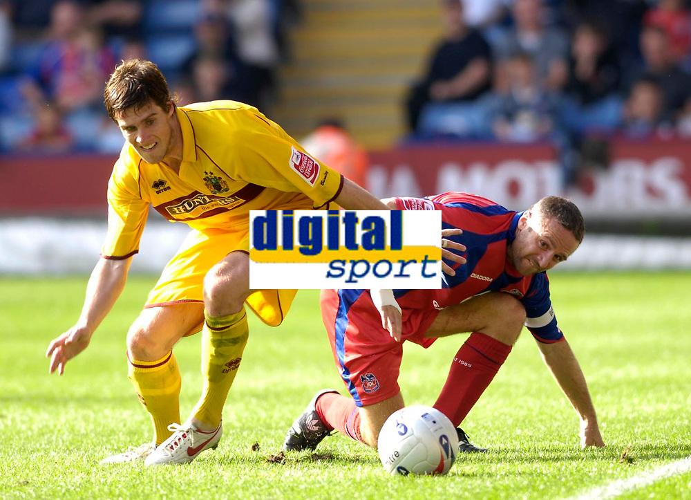Photo: Daniel Hambury.<br />Crystal Palace v Burnley. Coca Cola Championship. 26/08/2006.<br />Palace's Michael Hughes and Burnley's Andy Gray battle.