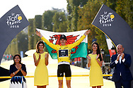 Podium, Hotess, Miss, Geraint Thomas (GBR - Team Sky) yellow Jersey, during the 105th Tour de France 2018, Stage 21, Houilles - Paris Champs-Elysees (115 km) on July 29th, 2018 - Photo Luca Bettini / BettiniPhoto / ProSportsImages / DPPI