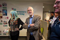 © Licensed to London News Pictures. 26/09/2015. Brighton, UK. Leader of the Labour Party JEREMY CORBYN visiting Entrepreneurial Spark in Brighton, a group tht promotes entrepreneuring. The visit takes place on the eve of the Labour Party conference, which is being held in Brighton  Photo credit: Ben Cawthra/LNP