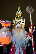 Moscow, Russia, 31/12/2005..Russians celebrate the lengthy New Year and Orthodox Christmas holidays. Ded Moroz [Father Frost] , the Russian version of Santa Claus, arrives in Red Square on New Year eve.