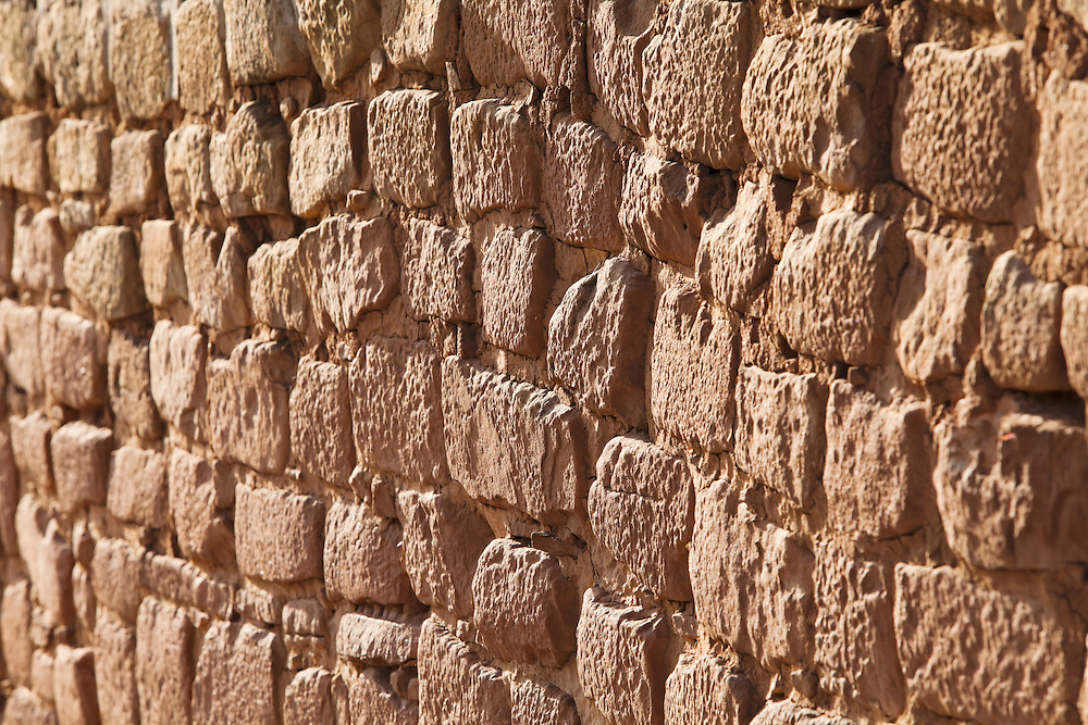 A detail view of an Adobe mortar wall on the Sun Temple in Mesa Verde National Park, USA.