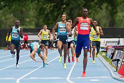 adidas Grand Prix Diamond League professional track & field meet: mens 800 meters, David Rudisha, Kenya. Erik Sowinski falls