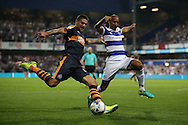 Karl Henry of QPR ® challenges Aleksandar Mitrovic of Newcastle United. EFL Skybet football league championship match, Queens Park Rangers v Newcastle Utd at Loftus Road Stadium in London on Tuesday 13th September 2016.<br /> pic by John Patrick Fletcher, Andrew Orchard sports photography.
