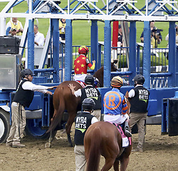 June 9, 2018 - Elmont, New York, U.S - With jockey MIKE SMITH aboard, JUSTIFY is loaded into gate 1 for the 150th running of the Belmont Stakes at Belmont Park in New York. They would win the race and with this victory Justify would become the 13th winner of the Triple Crown. (Credit Image: © Staton Rabin via ZUMA Wire)