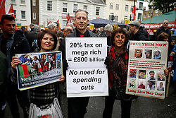 © Licensed to London News Pictures.01/05/2017.London, UK. Human rights campaigner PETER TATCHELL (centre ) joins Workers and activists as they gather at Clerkenwell Green in London ahead of a May Day march to Trafalgar Square on May 1, 2017.Photo credit: Tom Nicholson/LNP