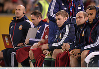 18 June 2013; Sean O'Brien, Rory Best and Simon Zebo, British & Irish Lions, watch on during the second half. British & Irish Lions Tour 2013, Brumbies v British & Irish Lions. Canberra Stadium, Bruce, Canberra, Australia. Picture credit: Stephen McCarthy / SPORTSFILE