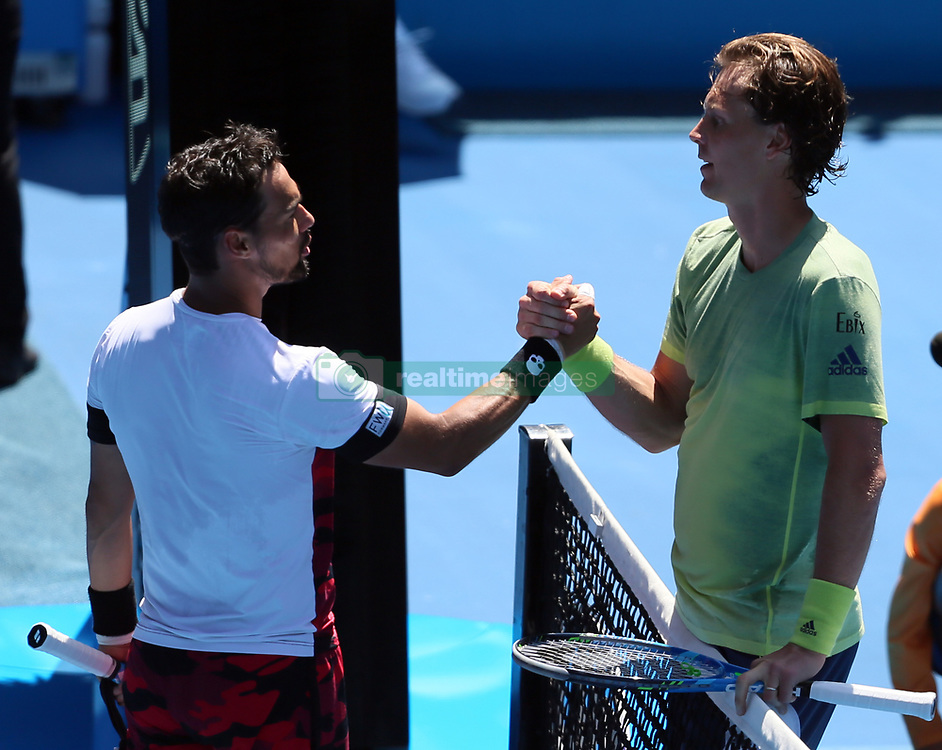 MELBOURNE, Jan. 22, 2018  Tomas Berdych (R) of the Czech Republic shakes hands with Fabio Fognini of Italy after their men's singles fourth round match at Australian Open 2018 in Melbourne, Australia, Jan. 22, 2018. Tomas Berdych won 3-0. (Credit Image: © Li Peng/Xinhua via ZUMA Wire)