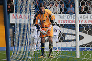 Burton Albion's keeper Jon McLaughlin is left dejected while Bury celebrate their 2nd goal. Skybet football league two match, Bury v Burton Albion at the JD Stadium, Gigg Lane in Bury, Lancs on Saturday 20th Sept 2014.<br /> pic by David Richards,  Andrew Orchard sports photography.