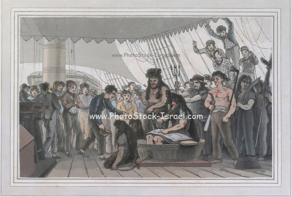 The day on which a ship crosses the line is commemorated by a humorous nautical ceremony, of which the print is a representation. At noon, the arrival of Neptune is announced; the marine deity is personated by a sailor, bearing in his hand the trident, colour print from the book ' A Picturesque Voyage to India by Way of China  ' by Thomas Daniell, R.A. and William Daniell, A.R.A. London : Printed for Longman, Hurst, Rees, and Orme, and William Daniell by Thomas Davison, 1810. The Daniells' original watercolors for the scenes depicted herein are now at the Yale Center for British Art, Department of Rare Books and Manuscripts,