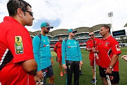 Australia's Nathan Lyon and Steve Smith chat with South Australian Diasability Cricket players during a press conference at the Adelaide Oval, Adelaide.