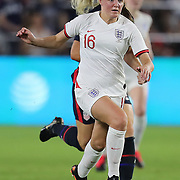 England midfielder Georgia Stanway (16) is seen during the first match of the 2020 She Believes Cup soccer tournament at Exploria Stadium on 5 March 2020 in Orlando, Florida USA.