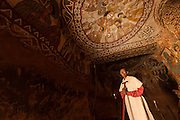 Portrait of a priest Abune Yemata church in the mountains. Near Hawzen Town, Gheralta area, Tigray, Ethiopia, Horn of Africa