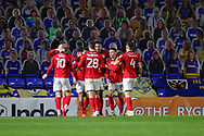 GOAL 0-1, Crewe Alexandra attacker Mikael Mandron (12) during the EFL Sky Bet League 1 match between AFC Wimbledon and Crewe Alexandra at Plough Lane, London, United Kingdom on 19 December 2020.