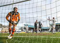 Falkirk's Jonathan Flynn celebrates with goalscorer David McCracken, after he scored their second goal.<br /> Raith Rovers 2 v 4 Falkirk, Scottish Championship game today at Starks Park.<br /> © Michael Schofield.