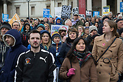 London, UK. Saturday, February 27th 2016. Stop Trident: CND demonstration against Britain's Trident nuclear weapons system. Thousands of protesters made this Britain's biggest anti-nuclear weapons rally in a generation. Demonstrators gathered from far and wide to protest against the renewal of Trident. In Trafalgar Square they stood listening to speaches.