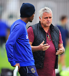 Cape Town--180329 Cape Town City chairman John  Comitis having a conversation with Mpho Matsi at training while preparing for their Nedbank Cup game against Sundowns on sunday  .Photographer;Phando Jikelo/African News Agency/ANA