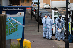 © Licensed to London News Pictures.<br /> 23/07/2020.  London, UK. A man is fighting for his life after a triple shooting in north London.<br /> Officers were called to reports of shots being fired in Griffin Road, Tottenham, at 12.41am, MPS Haringey said.<br /> They found three males suffering gunshot injuries.<br /> One is in a life-threatening condition. Photo credit: Marcin Nowak/LNP