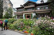Flowers at restaurant in Lauterbrunnen, Switzerland