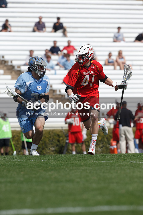 CHAPEL HILL, NC - MARCH 22: Colin Heacock #41 of the Maryland Terrapins during a game against the North Carolina Tar Heels on March 22, 2014 at Kenan Stadium in Chapel Hill, North Carolina. North Carolina won 11-8. (Photo by Peyton Williams/Inside Lacrosse)