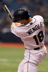 May 26, 2018 - St. Petersburg, FL, U.S. - ST. PETERSBURG, FL - MAY 26: Joey Wendle (18) of the Rays at bat during the MLB regular season game between the Baltimore Orioles and the Tampa Bay Rays on May 26, 2018, at Tropicana Field in St. Petersburg, FL. (Photo by Cliff Welch/Icon Sportswire) (Credit Image: © Cliff Welch/Icon SMI via ZUMA Press)