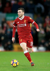 """Liverpool's Andrew Robertson during the Premier League match at Anfield, Liverpool. PRESS ASSOCIATION Photo. Picture date: Sunday February 4, 2018. See PA story SOCCER Liverpool. Photo credit should read: Peter Byrne/PA Wire. RESTRICTIONS: EDITORIAL USE ONLY No use with unauthorised audio, video, data, fixture lists, club/league logos or """"live"""" services. Online in-match use limited to 75 images, no video emulation. No use in betting, games or single club/league/player publications"""