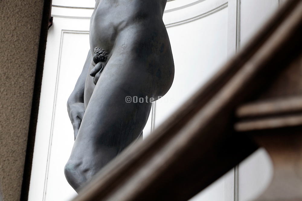 detail of a real size reproduction of David by Michelangelo in Tokyo Japan