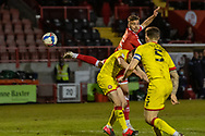 Crawley Town forward Nick Tsaroulla (#35) sees his header go wide during the EFL Sky Bet League 2 match between Crawley Town and Walsall at The People's Pension Stadium, Crawley, England on 16 March 2021.